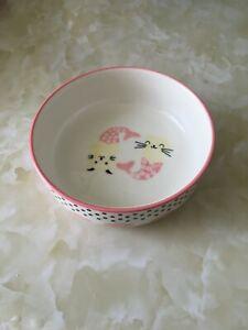 "Cute Pink Cat Kitty Food Ceramic Dish Bowl 5"""