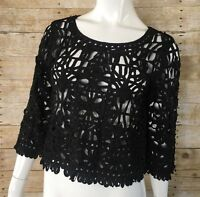 Forever 21 Crop Top M Womens Ribbon Lace Black 3/4 Sleeve