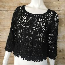 Forever 21 Ribbon Lace Black Crop Top Medium 3/4 Cropped Sleeves