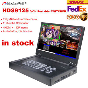 Devicewell HDS9125 5-Channel 11.6 inch LCD Monitor 4 HDMI Live Stream Switcher
