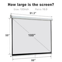 "100""16:9 Projection White Screen Manual Pull Down Projector Home Movie Matte"