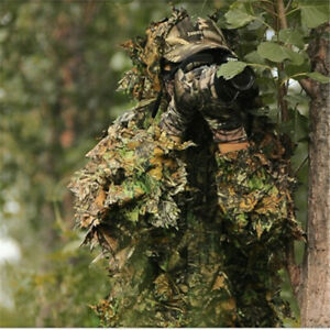 Tactical Ghillie Suit 3D Bionic Camo Leaf Hunting Birdwatching Clothes Set