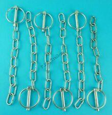 6 x Lynch Pin & Chain 8mm Pin x 40mm Ring Trailer Horse Box & Van Tail Gate Pin