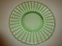 "Vintage Hocking Block Optic Green Depression Glass Plate, 8-3/8"""