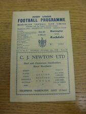 13/12/1958 programma Rugby League: Warrington V ROCHDALE HORNETS (piegato). bobfr