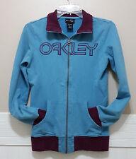 OAKLEY Softshell Track Jacket XS Zip Front Collared Sweatshirt Blue w/ Burgundy