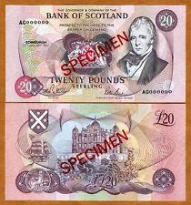 SPECIMEN Scotland, 20 pounds, 1993 , P-118s, UNC > Scarce