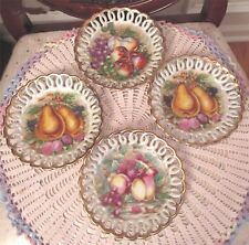 Set Of 4 ROYAL SEALY China Saucers Japan Lusterware Fruit Reticulated Gold Edge