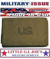 """Olive Drab Genuine GI US Virgin Military Wool Blanket 62"""" x 80"""" U.S. MADE 9084"""