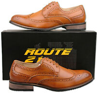Mens New Tan Brown Lace Up Leather Lined Brogues Shoes Size 6 7 8 9 10 11 12 13