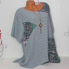 Longtunika Übergroße Bluse Shirt Tunika Zipfel A-Linie Patchwork 44 46 48  Italy