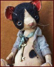 READY to SHIP Alla Bears artist Old tuxedo Cat art doll OOAK pet home decor