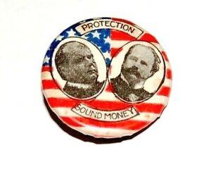 "1896 WILLIAM MCKINLEY GARRET HOBART 7/8"" campaign pin pinback button political"