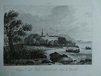 1845 Zuccagni-Orlandini Veduta dell'Isola Lecchi sul Lago di Garda Lombardia