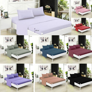 Extra Deep 40 cm Fitted Sheet Bed Sheets for Mattress Single Double King Super