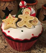 """Gingerbread Cookie Jar 9"""" Peppermint Candy Cane CHRISTMAS Kitchen Decor Cupcake"""