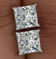 925 Sterling Silver Princess Cut Solitaire Simulated Lab Diamond Stud Earrings