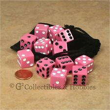 NEW Set of 12 Pink with Black & White Pips Dice + Bag RPG D&D Bunco Game D6 16mm