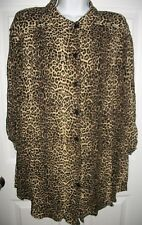 Fashion Bug Women's Gold & Black Leopard Print Long Shirt Size 22 / 24