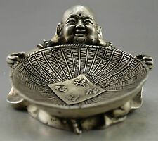 Collectible Decorated Old Handwork Tibet Silver Carve Buddha Hold Dustpan Statue