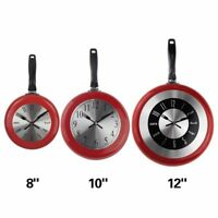 "Wall Clock Frying Pan Home Kitchens Decoration Metal Artistic Side Hang 8""10""12"""