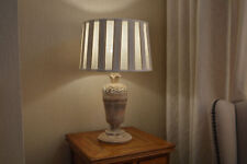 Table Lamp Wood Antique Cream Hand Carved Pleated Shade