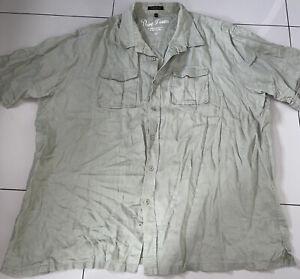 Mens Sage Green 3XL Pure Linen Shirt
