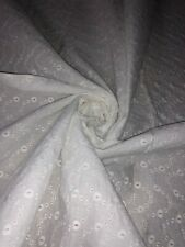 """1 Meter Ivory Embroided Broderie Anglaise 100%Pure Cotton Dress Fabric 45""""Wide"""