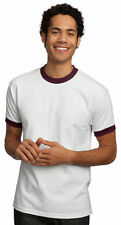 New Port & Company by Hanes Mens Short Sleeve Ringer T-Shirt White & Maroon MED