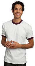 New Port & Company by Hanes Mens Short Sleeve Ringer T-Shirt White & Maroon MED