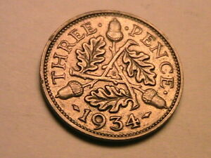 1934 Great Britain Threepence Nice Ch AU Original Luster Silver 3P UK Coin