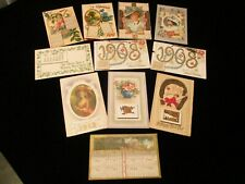 Collection Of 11 Mini Calendar Antique / Vintage Happy New Year Paper Postcards
