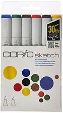 Copic 6pc Sketch Bold Primaries Set Alcohol Markers 6 Pen Colors
