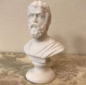 Beautiful Vintage Detailed Art Sculpture Bust SOPHOCLES Marble Alabaster Resin
