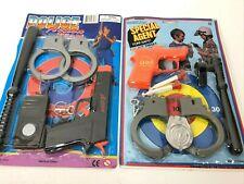 new Vintage Kids SWAT Police Action Gun Pistol handcuff Toy Set costume badge