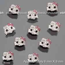 10 Pcs 3D Nail Art Deco Pink Hello Kitty Alloy Glitter Rhinestone #E1252