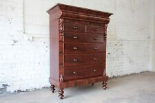 Immaculate American Empire Flame Mahogany Highboy Chest of Drawers, Dated 1886