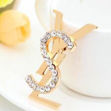 """Women's Fashion Brooch/ Pin Letter Y/S  Gold Metal with Crystal 1.5X3"""""""