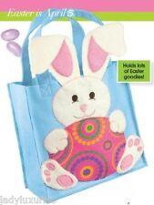 Beautiful Adorable Applique Felt Bunny Rabbit Easter Basket Bag NEW IN PACKAGE