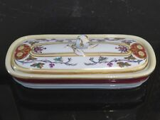 Antique Hand Painted Porcelain Razor Lidded Box