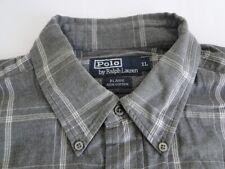 Polo Ralph Lauren Blake Herren Hemd Langarm Grau Weiß Kariert Gr. XL