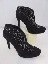 New GIANNI BINI Black Suede ANKLE BOOTS w/STUDS Stiletto Platform Heel BOOTIE 6