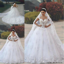 Luxury Ball Gown Arabic Lace Wedding Dresses Sweetheart Appliques Bridal Gowns