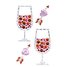 Red Wine Glass and Hearts Rhinestone Stickers, Assorted, 4-Piece