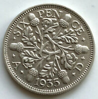 1935 GEORGE V SILVER SIXPENCE COIN HIGH GRADE
