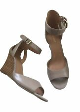 Women's Nine West Forrow Wedge Shoes Sandals Taupe Leather Size 9 1/2