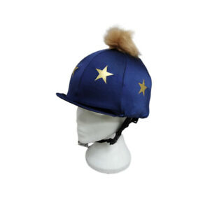 Capz Lycra Hat Cover, Navy With Gold Stars And Pom
