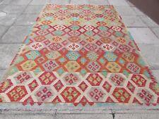 Vintage Kilim Traditional Hand Made Oriental Grey Red Wool Kilim Rug 308x204cm