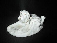 ancien encrier en porcelaine de vieux Paris chien XIX ème