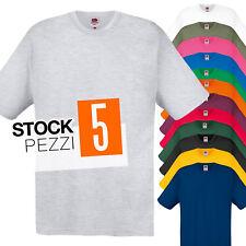 Pacco 5 Magliette Da Stampare Stock T-Shirt Cotone Fruit of The Loom Original T